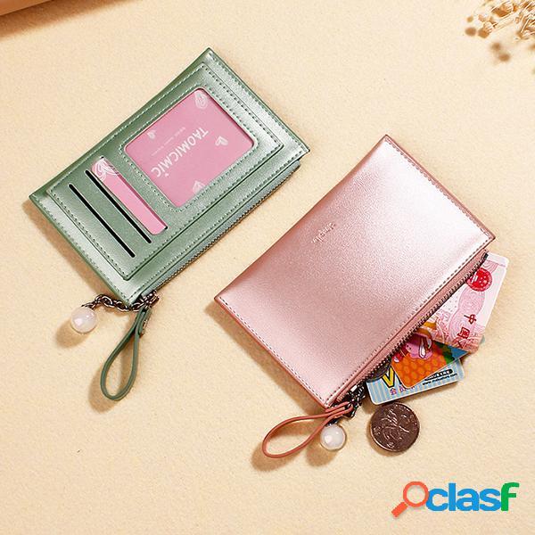Pearlescent láser wallet encanto creative mini coin purse portatarjetas para mujer