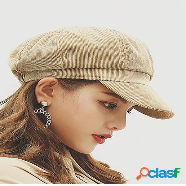 Gorra octogonal de pana para mujer gorra de boina al aire libre gorra de pintor salvaje informal de moda de viaje
