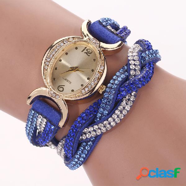 Moda cuarzo reloj de pulsera de cuero colorido rhinestone correa causal reloj para mujer
