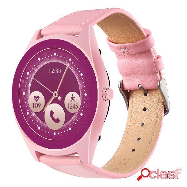 Correa de cuero de moda mujer reloj inteligente pantalla 2.5d control de voz actividad de la presión sanguínea monitor llamada bluetooth