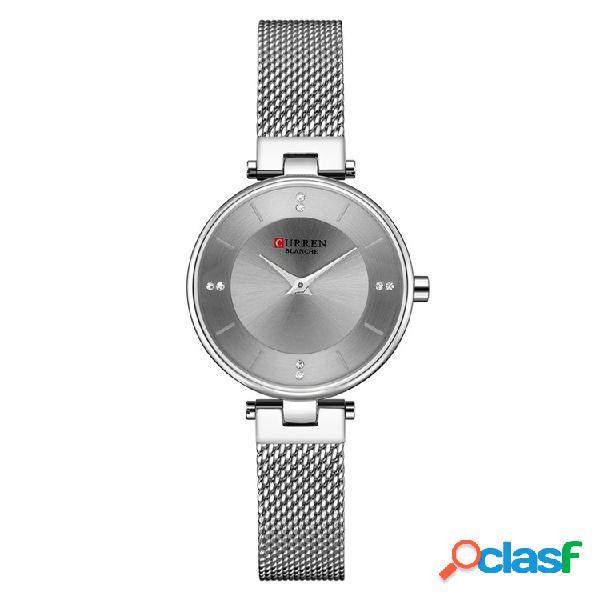 Corren 9031 ultra thin dial caso elegante diseño mujer reloj reloj de cuarzo de acero completo