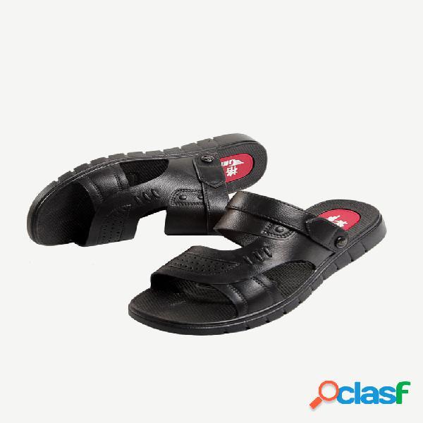 Sandalias hombre zapatillas deslizamiento de temporada impermeable interior y al aire libre uso doble soft parte inferior para padre de mediana edad playa sandalias y zapatillas