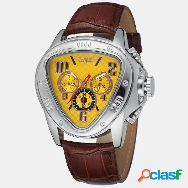 Triangle dial automatic mecánico fecha del reloj semana mes pequeño reloj de tres puntos para hombres