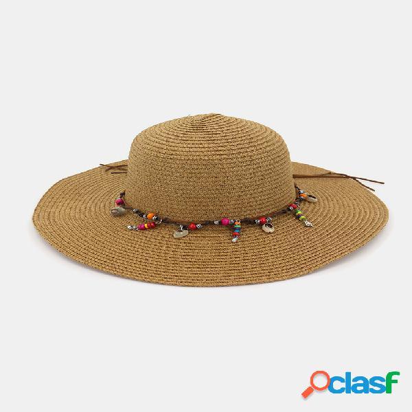 Moda salvaje mujer sombreros de paja de protección solar de verano playa sombrero sombrero de paja de sombra sombrero de vacaciones junto al mar sombrero grande