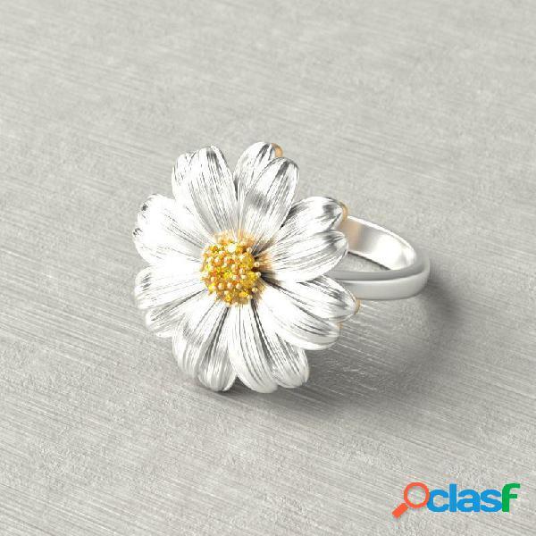 Crisantemo de moda pequeña flor de margarita mujer anillos salvaje pequeño y fresco diamante montaje de joyería