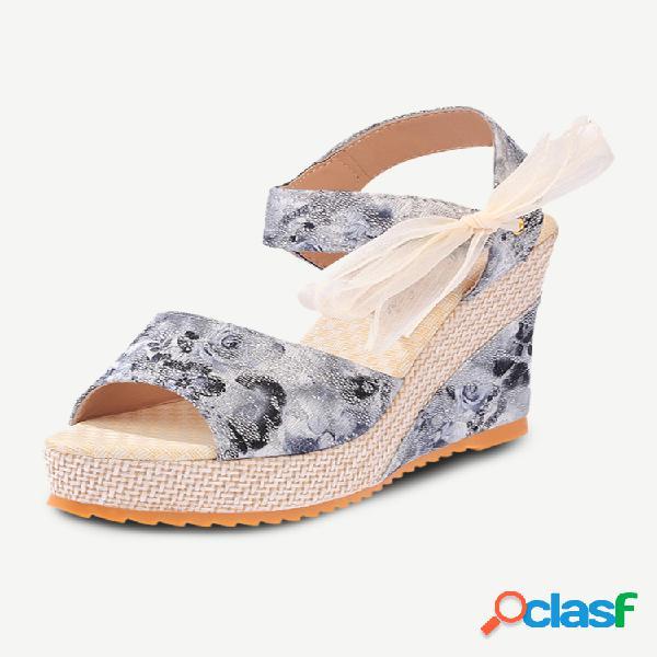 Temporada nueva pendiente con zapatos romanos zapatos de mujer de suela gruesa a juego para mujer cinta estampada para mujer sandalias salvaje