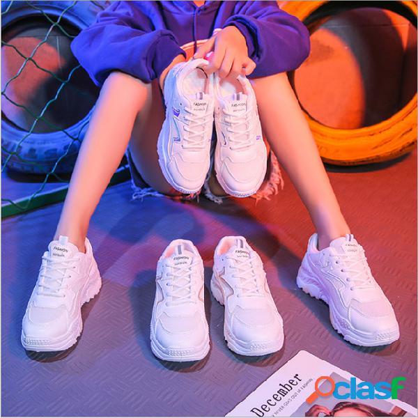 Nuevos zapatos viejos zapatos deportivos de plataforma para muffins femeninos zapatos casuales cinturón zapatos blancos para estudiantes 1611