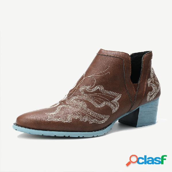 Plus talla mujer cómodo bordado punta puntiaguda tacón grueso sencillo botas