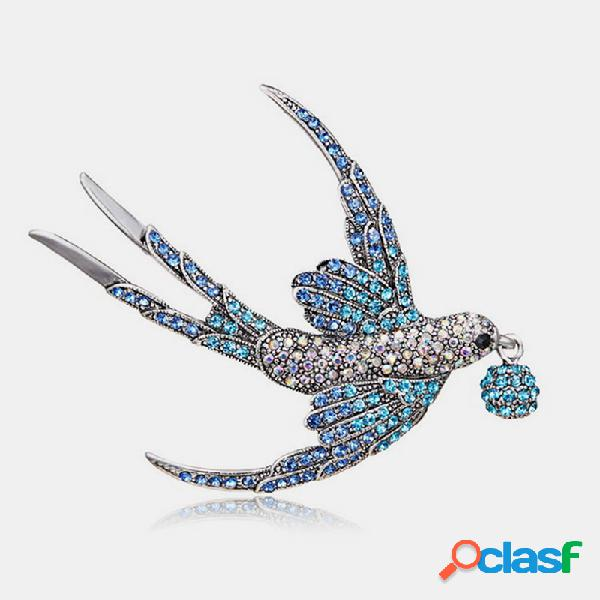 Moda elegante broche de golondrina salvaje animal rhinestone broche de montaje mujer joyería