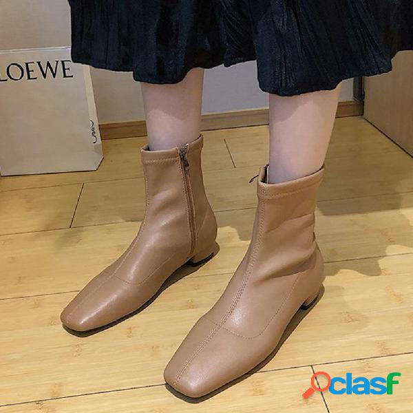 Mujer pantalón corto con cremallera lateral, cómodo y cómodo, de color sólido, botas