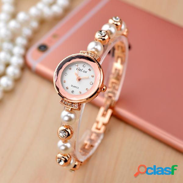 Elegante reloj de diamantes de imitación de moda perla pulsera reloj de cuarzo reloj impermeable para mujer