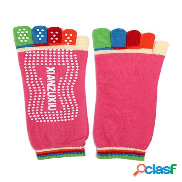 Mujer colorful dedo del pie yoga antideslizante calcetines gym ejercicio aptitud deportivo pilates cómodo