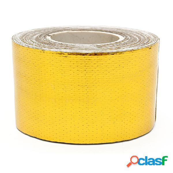 Rollo de cinta adhesiva de protección térmica de alta temperatura dorada reflectante adhesiva de 9mx5cm