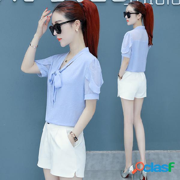 Color sólido camisa de gasa temporada para mujer nueva moda estilo extranjero era temperamento delgado arco tocar fondo camisa pequeña marea