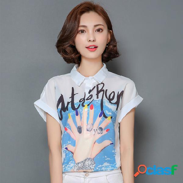 Camisa de gasa de manga corta con estampado de nueva moda de verano de 2019 camisa suelta de gran tamaño para mujer camisa salvaje marea