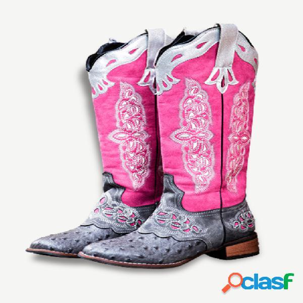 Tamaño grande mujer empalme de bloques de color cómodo y usable vaquero de media pantorrilla botas