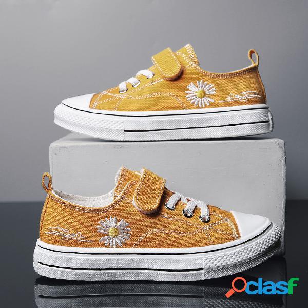Unisex kids daisy decor cómodo y transpirable gancho loop casual zapatos planos