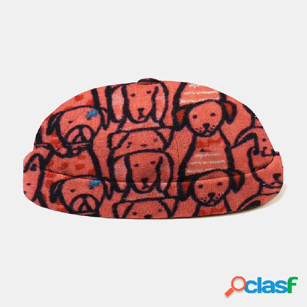 Men & mujer cute cartoon perro patrón gorro casual para arrendador cráneo gorra - naranja