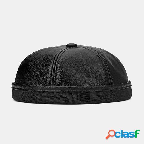 Collrown men & mujer cuero de color sólido sombrero gorra de arrendador sin ala cráneo gorra