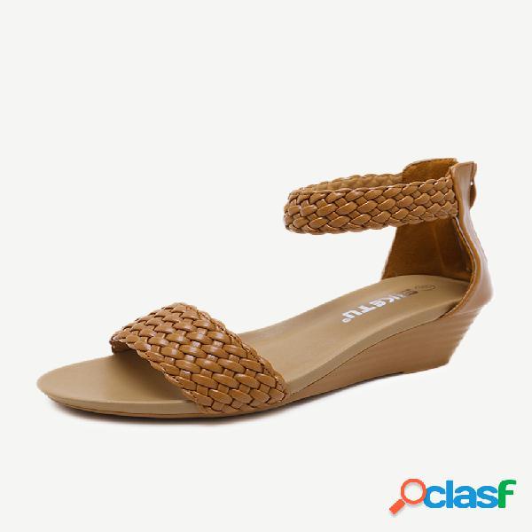 Mujer tacón de cuña con cremallera de tejido informal sandalias