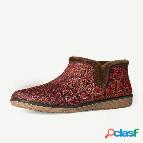 Mujer invierno viejo pekín algodón forro cálido de felpa tobillo plano antideslizante botas