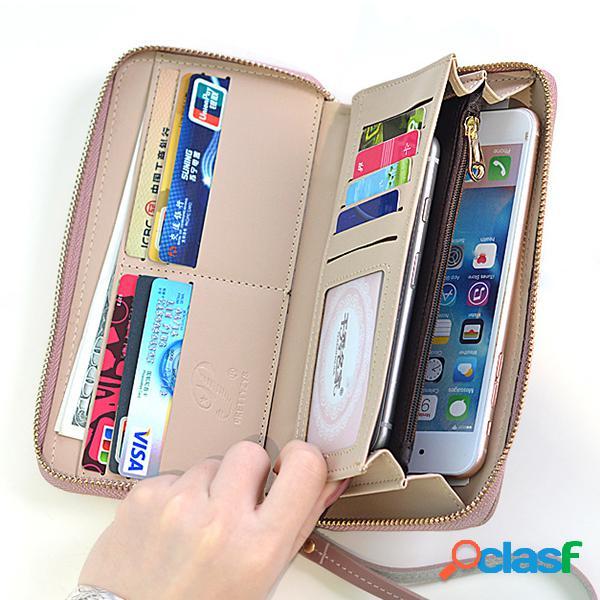 Mujer multi-función de cuero de imitación billetera 6 inch teléfono bolsa titular de la tarjeta