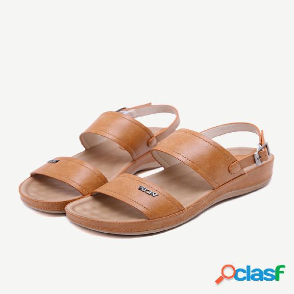 Mujer correa de metal con hebilla de color sólido cómodo antideslizante sandalias