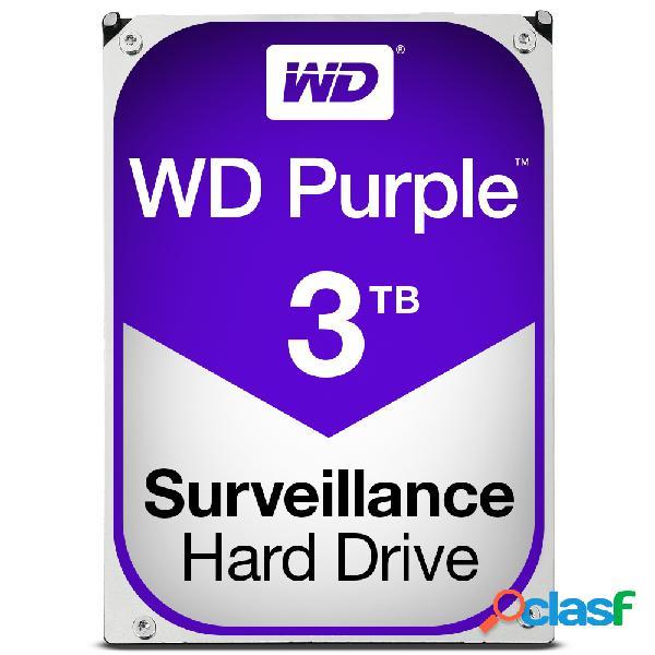 Disco duro para videovigilancia western digital wd purple 3.5'', 3tb, sata iii, 6 gbit/s, 64mb cache