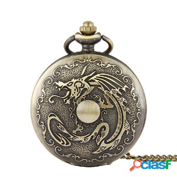 Reloj de bolsillo de reloj de pulsera de cuarzo steampunk de bronce vintage clásico patrón de dragón