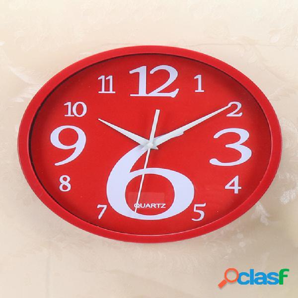 Pared de la casa redonda reloj pared de color sólido fluorescente creativa reloj pared digital de la casa coreana reloj