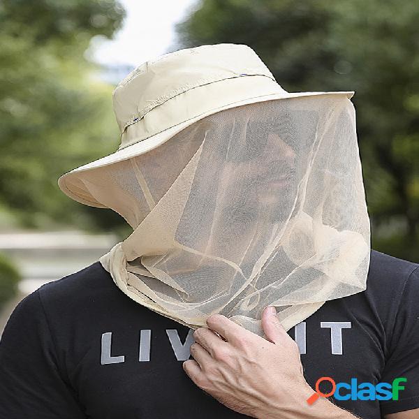 Verano al aire libre impermeable funda protectora cara gasa a prueba de insectos senderismo pesca sombrero