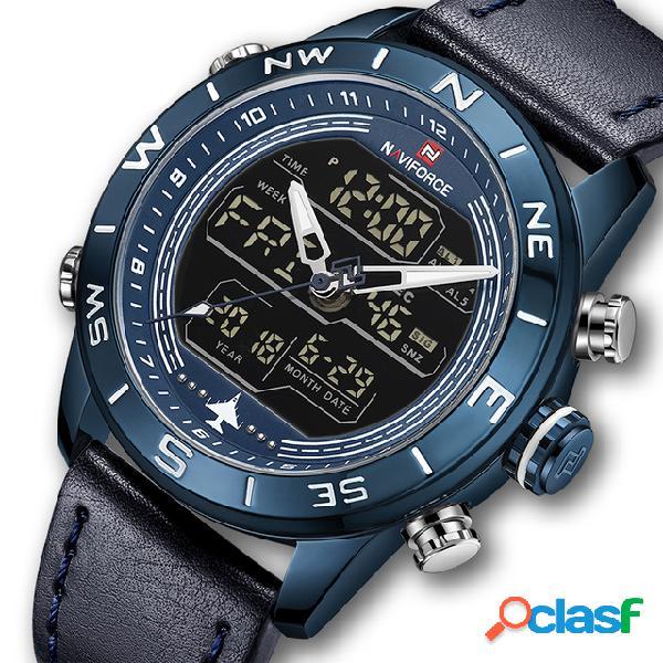 Reloj de estilo deportivo para hombres reloj resistente al agua con pantalla doble led cronógrafo reloj digital