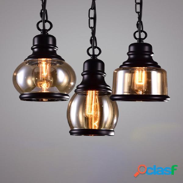 Retro glass colgante lámpara vendimia accesorio de iluminación industrial bar loft