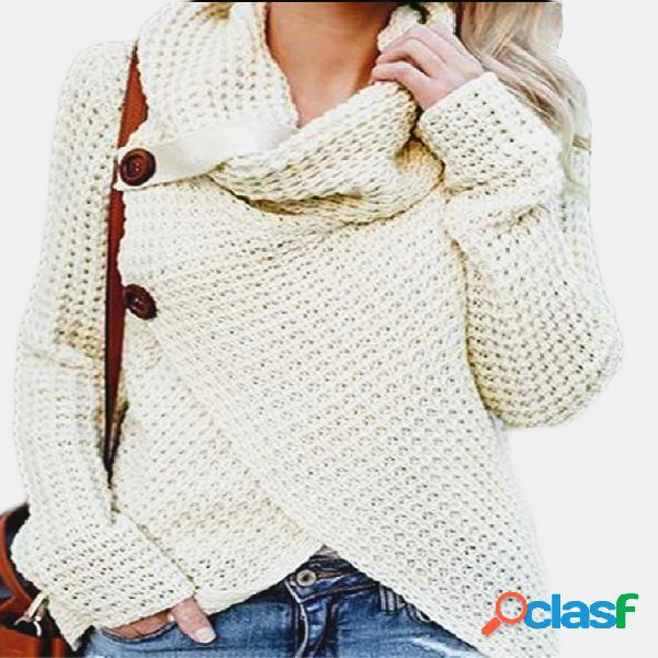 Beige cruzado diseño frontal llano cuello cuello manga larga suéteres