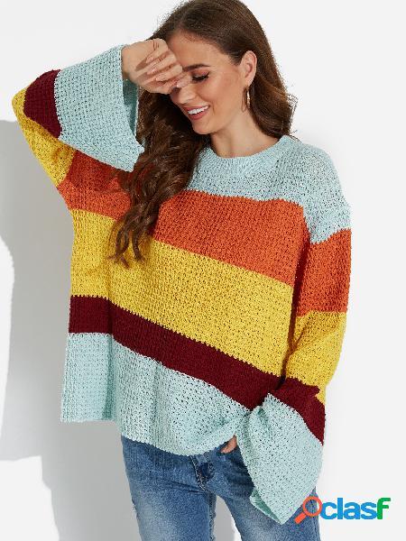 Color azul a juego cuello redondo mangas de campana tejer suéteres