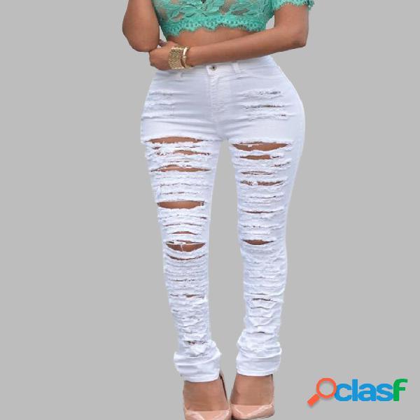 Jeans rasgados blancos con diseño de alta cintura
