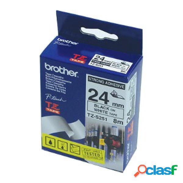 Cinta brother tzs251 negro sobre blanco, 24mm x 8m, para pt1950, pt9500