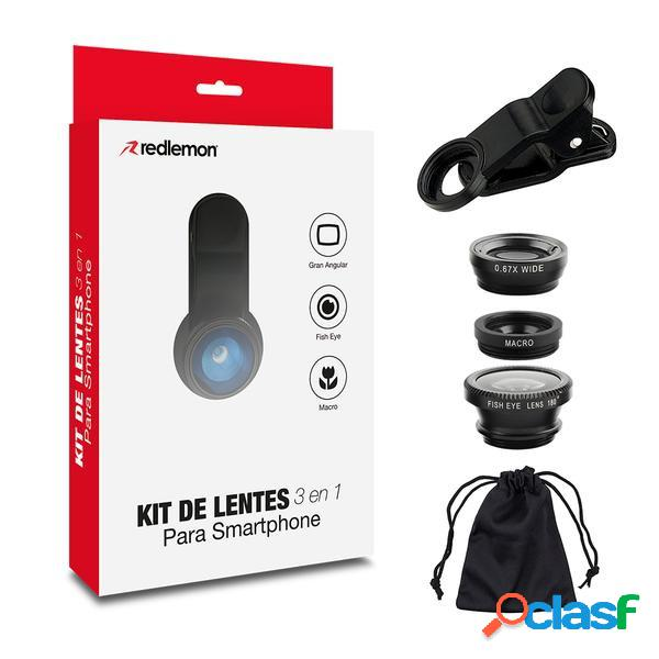 Redlemon kit de lentes 3 en 1 67714-bl, para celular y tablet, negro, 3 piezas