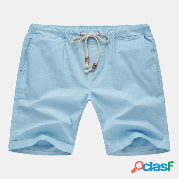 Pantalones cortos deportivos casuales de mezcla de algodón de color sólido con cordón multicolor de primavera verano para hombre