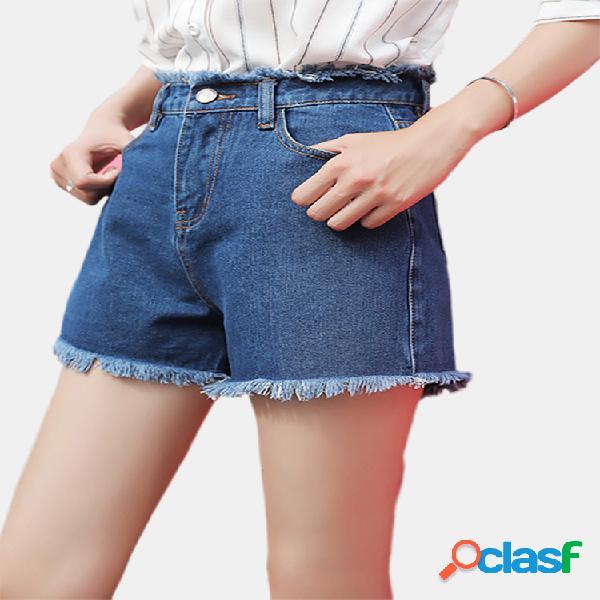 Pantalones cortos de mezclilla cintura alta de las mujeres nuevo una palabra fina ancha pierna marea suelta neto rojo caliente pantalones desgaste