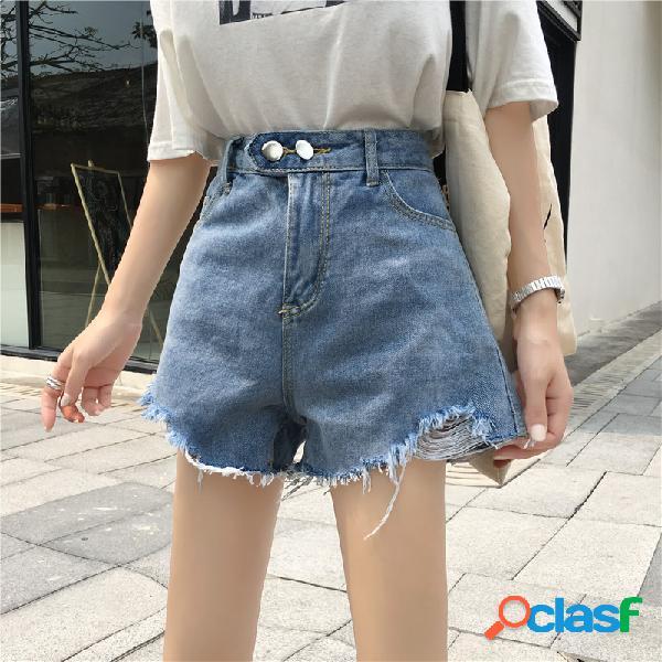 Pantalones cortos de mezclilla sueltos cintura alta pierna ancha pantalones casual pantalones mujer recta caliente pantalones