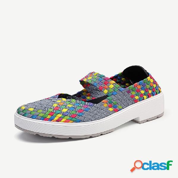 Colorful zapatos de punto con plataforma informal de tacón grueso sin cordones