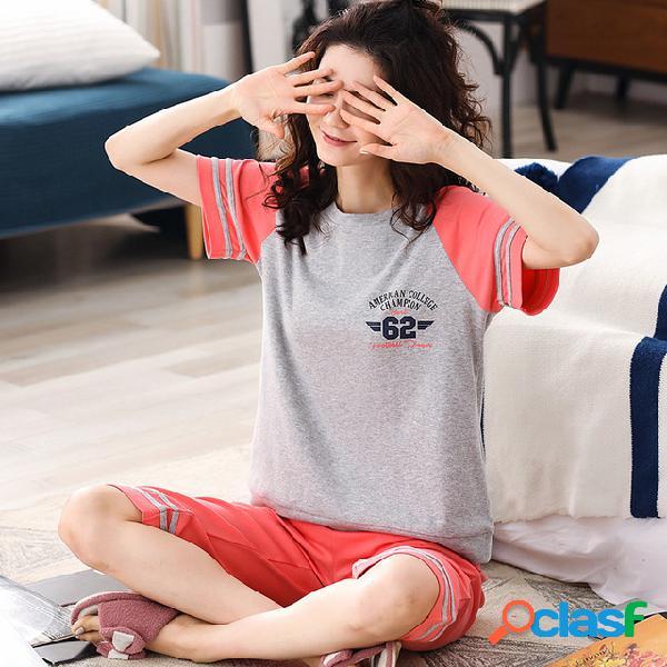 Pijamas de algodón pantalones cortos de manga corta de las mujeres estudiantes sueltos servicio de hogar traje temporada ropa deportiva se puede usar