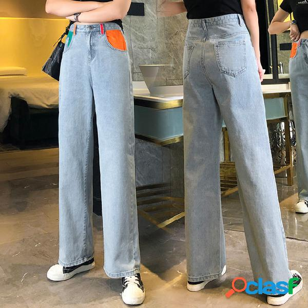 A aaa jeans cintura alta suelta para mujer cec recta hacia abajo la vieja a arrastra la pierna ancha