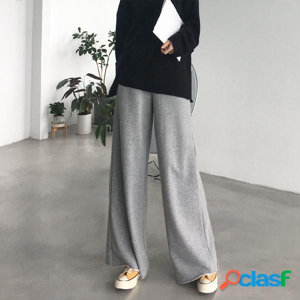 Hurricane cintura alta color sólido terry algodón trapeado pantalones algodón femenino suelto fino recto pierna ancha pantalones de chándal casuales femeninos