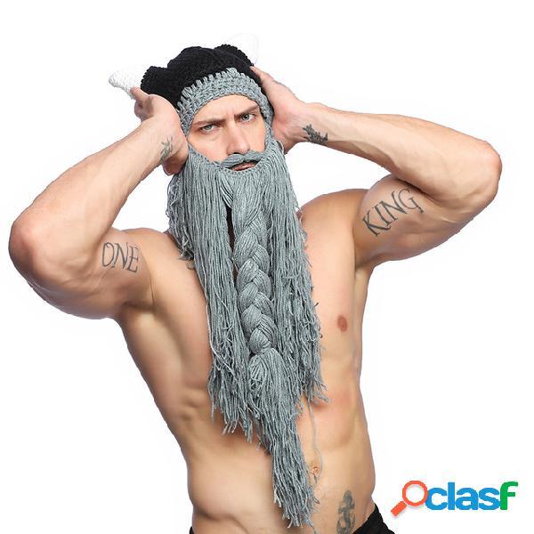 Punto de hombre sombrero gorro de cuerno lana de barba larga sombrero santa sombrero