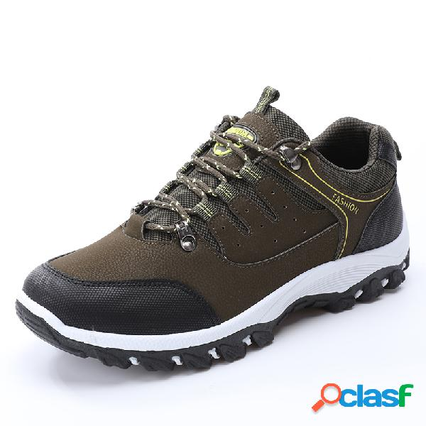 Cuero de microfibra para hombre al aire libre antideslizante con cordones y zapatos para caminatas