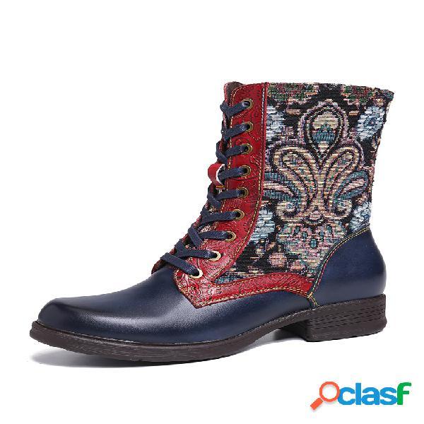 Socofy retro folkways patrón en relieve piel genuina costura, cordones, cremallera, pantalón corto plano botas
