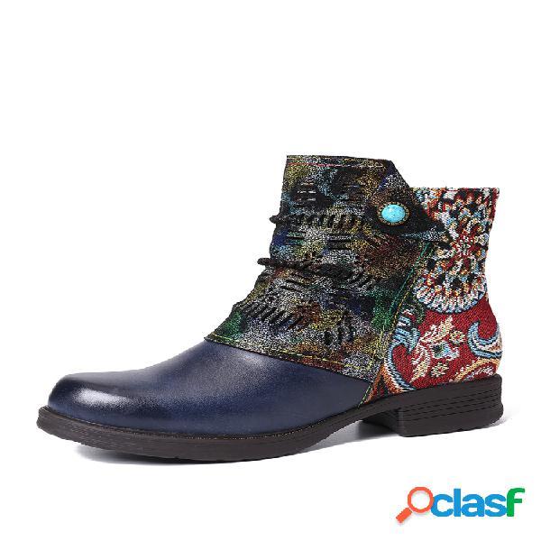 Socofy retro piel genuina splicing fancy patrón pantalón corto plano con cremallera botas