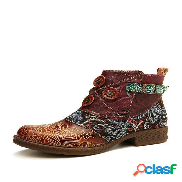 Socofy retro buckle piel genuina splicing folkways patrón plano soft corto botas